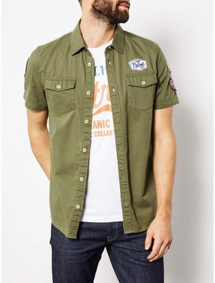 Petrol Industries Fitted Short-Sleeved Military Shirt
