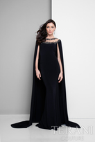 Terani Evening - Eye-catching Beaded Floral Laced Illusion Neck Jersey Mermaid Gown 1713M3488