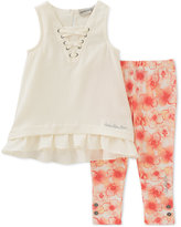 Calvin Klein 2-Pc. Ivory Crepe Tunic & Leggings Set, Toddler & Little Girls (2T-6X)