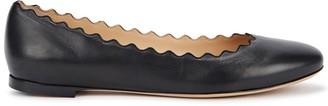 Chloé Lauren Scalloped Leather Flats
