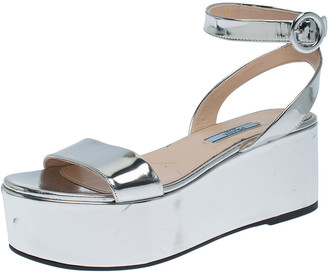 Prada Silver Leather Ankle Strap Platform Sandals Size 37