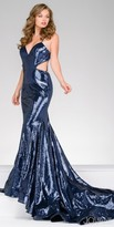Jovani Dazzling Strappy Back Sequin Cutout Prom Dress