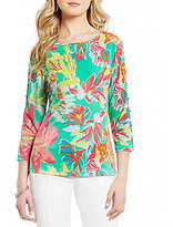 Investments 3/4 Button Sleeve Printed Top