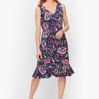 Talbots Flounce Hem Fit & Flare Dress - Watercolor Paisley