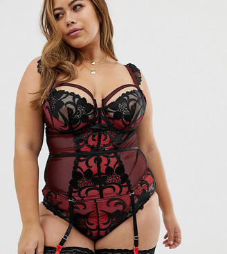 Figleaves Curve Fever lace basque with suspender detail in red / black