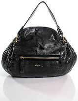 Giorgio Armani Black Embossed Leather Single Strap Large Shoulder Handbag