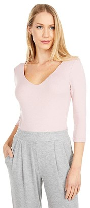 Michael Stars Shine 3/4 Sleeve Double Front V-Neck (Cosmo) Women's Long Sleeve Pullover