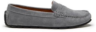 Hugs & Co Womens Tyre Sole Penny Loafers Slate Grey Suede