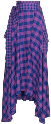 Natasha Zinko Asymmetric Check Maxi Skirt