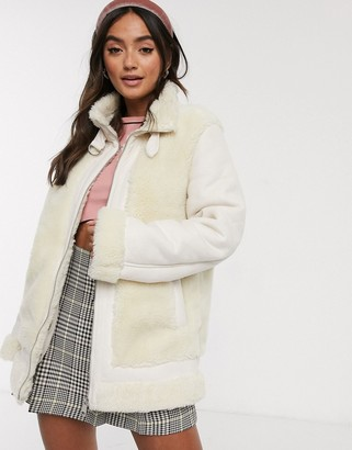 Brave Soul oversized jacket in faux suede and bonded sherpa