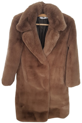 MANGO Brown Faux fur Coats