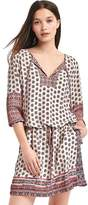 Mix print long sleeve popover dress