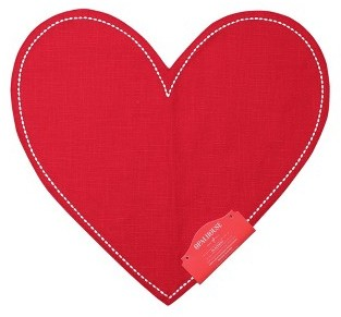 Cotton Embroidered Heart Shaped Placemat Red - OpalhouseTM