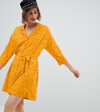 Monki Polka Dot Mini Shirt Dress In Yellow