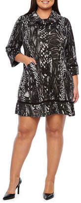 Robbie Bee Plus Long Sleeve Animal Fit & Flare Dress