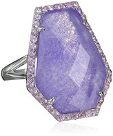 Kenneth Jay Lane Fine Jewelry Sterling Silver, Quartz and Pink Sapphire Kite Ring, Size 7