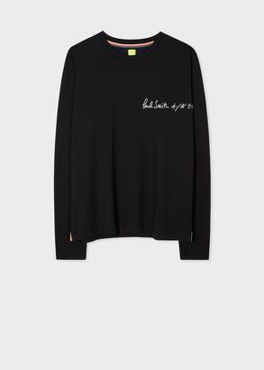 Paul Smith Women's Black 'Green Apple' Long-Sleeve T-Shirt