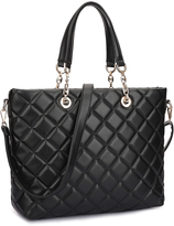 Dasein Black Jethro Quilted Tote