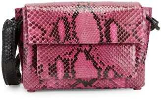 Nancy Gonzalez Embossed Python Leather Shoulder Bag