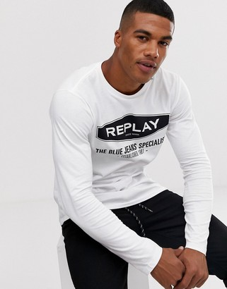 Replay large logo long sleeve top in white