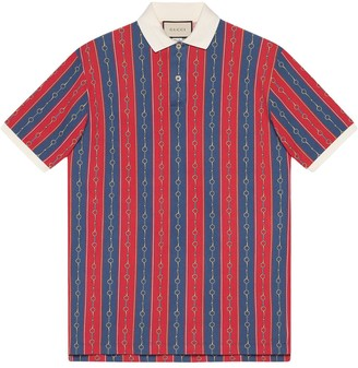 Gucci Oversize polo with Horsebit Chain print