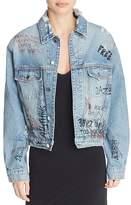 Iro . Jeans IRO.JEANS Mary Graffiti Denim Jacket in Blue