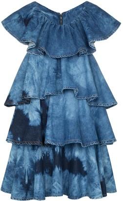MSGM Tie-Dye Tiered Denim Mini Dress