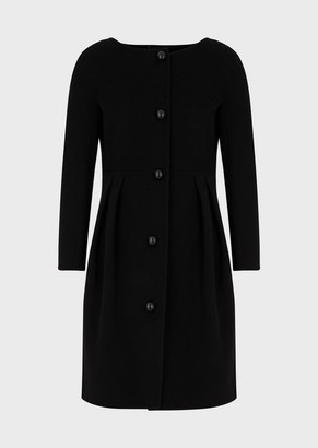 Emporio Armani Wool And Cashmere Coat With Godet Pleats