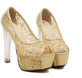 Naly Women's June Bridal Shoes Wedding Dress Peep Toe Pump with Crystal Heels 8B US