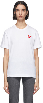 Comme des Garcons White and Red Mens Fit Heart T-Shirt