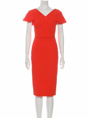 Roland Mouret V-Neck Midi Length Dress Orange