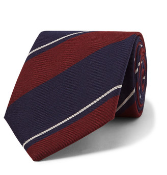 Striped Wool And Cotton-Blend Twill Tie