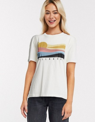 Billabong Coast Line oversized t shirt in white