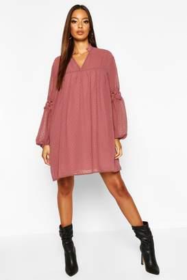 boohoo Dobby Lace Trim Smock Dress