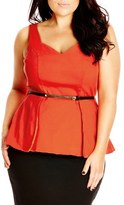City Chic Belted Fold Front Peplum Top (Plus Size)