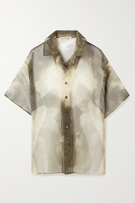 Acne Studios Printed Organza Shirt - Cream