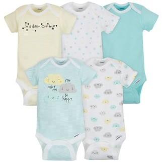 Gerber Baby Boy or Girl Gender Neutral Onesies Short Sleeve Bodysuits, 5-Pack