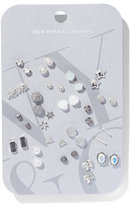 New York & Co. 20-Piece Silvertone Post Earring Set