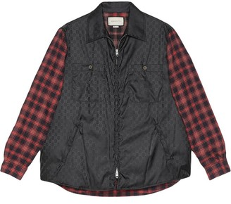 Gucci Gg Logo Check Print Shirt Jacket