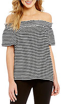 M.S.S.P. Off The Shoulder Stripe Knitted Gauze Top
