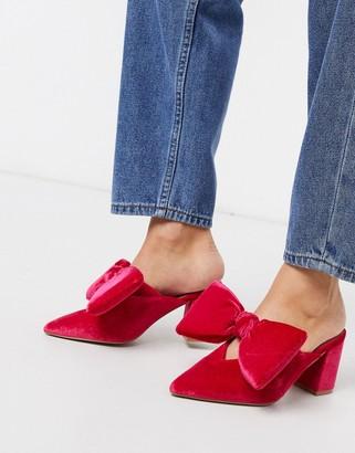 ASOS DESIGN Sweetness block heel bow mules in pink velvet