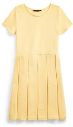 Ralph Lauren Pleated Ottoman-Rib Dress