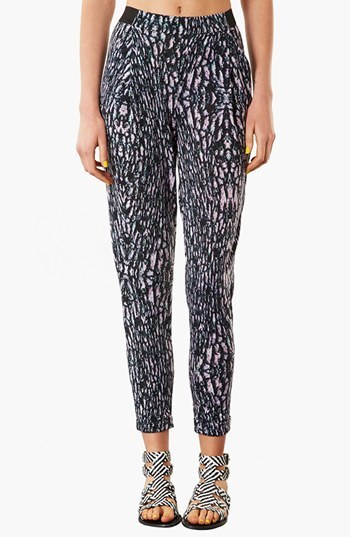 Topshop Marble Print Tapered Trousers