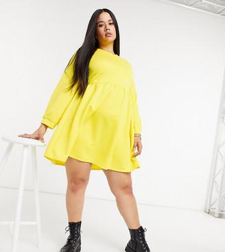 Rokoko Plus oversized smock sweat dress in buttercup yellow