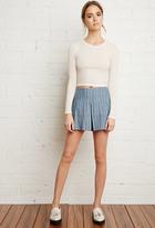 Forever 21 FOREVER 21+ Pleated Denim Shorts