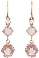 Hexagon Morganite and Diamond Drop Earrings - Rose Gold