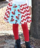 Beary Basics Red & Mint Chevron Fox Circle Skirt - Infant Toddler & Girls