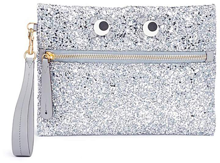 Anya Hindmarch 'Circulus' eyes glitter leather zip pouch