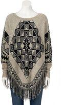 Women's Olivia Sky Aztec Crewneck Sweater Poncho