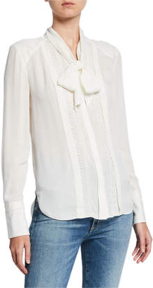 Elie Tahari Inna Tie-Neck Long-Sleeve Silk Blouse